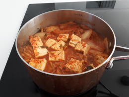 Added soft tofu and with cooked rice, very good for hangovers. It was my simple lunch today